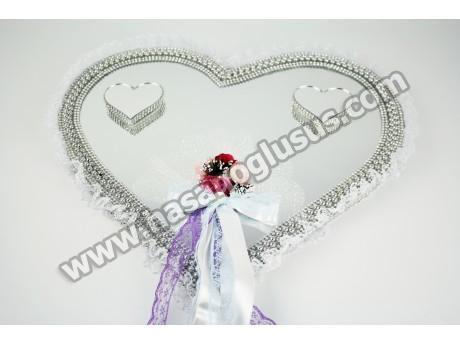 Aynalı Yüzük Tepsisi Kalp Modelli