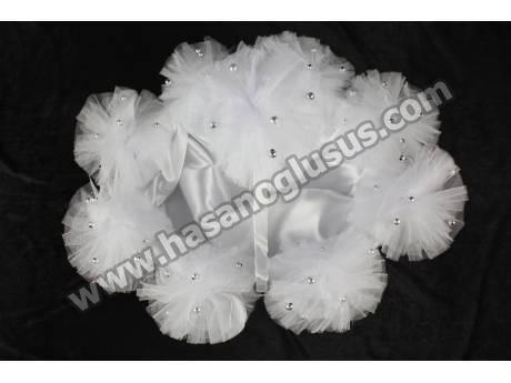 Gümüş Boncuklu Beyaz Ponponlu Kına Sepeti