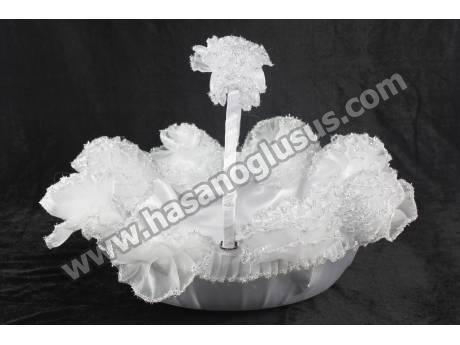 Gümüş Sim Ponponlu Beyaz Kına Sepeti