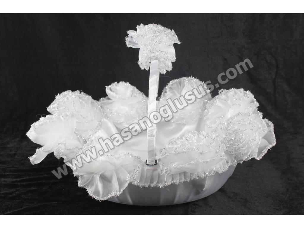 Kına Sepetleri, Gümüş Sim Ponponlu Beyaz Kına Sepeti