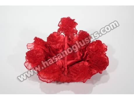Kırmızı Sim Ponponlu Kına Sepeti