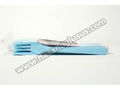 Mavi Plastik Parti Çatalı 25 Adet