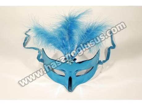 Mavi Tüylü Parti Maskesi