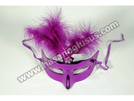 Mor Tüylü Parti Maskesi
