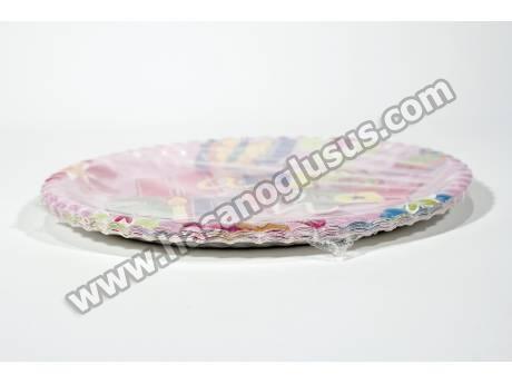 Pembe Kelebekli Kağıt Parti Tabağı