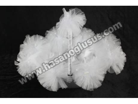 Ponponlu Kına Sepeti Beyaz