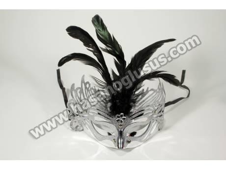 Tüylü Gümüş Parti Maskesi