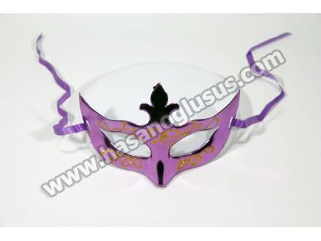 Yaldızlı Mor Parti Maskesi